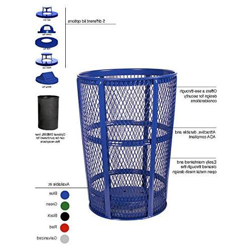 blue steel mesh trash receptacle