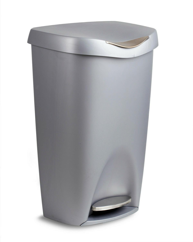 Umbra Brim 13-Gallon Step Waste Can, Nickel