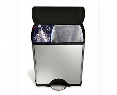 brushed stainless steel rectangular recycler