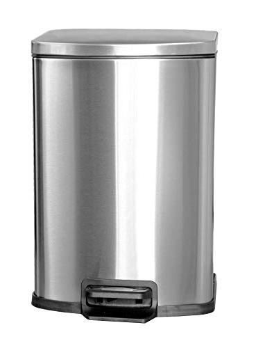 brushed stainless steel trash can