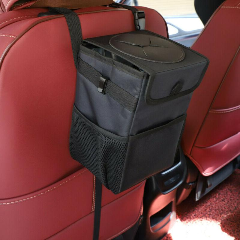 Car Can, Premium Leather Garbage Black