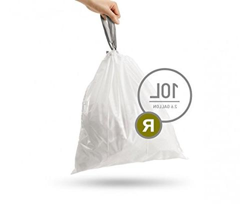 simplehuman Code Custom Fit Liners, Bags, 10 Liter 2.6 Gallon, Refill Packs