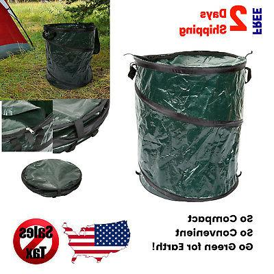 Collapsible Trash Can Pop Up 33 Gallon Lid Trashcan