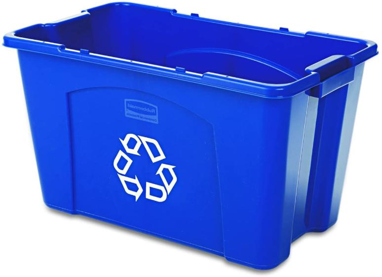 Rubbermaid Commercial Stackable Recycling Bin 18 Gallon Blue