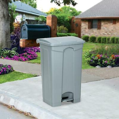 Plastic Step-On Trash Can Kitchen Garbage Can Grey Hands-fre