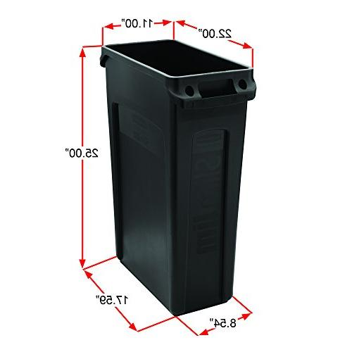 Rubbermaid Commercial Products Slim Jim Can Receptacle with Venting 16 Gallons,
