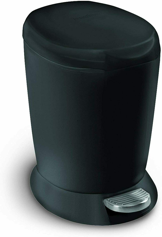 Compact Plastic Round Bathroom Step Trash Can Black 6 Liter