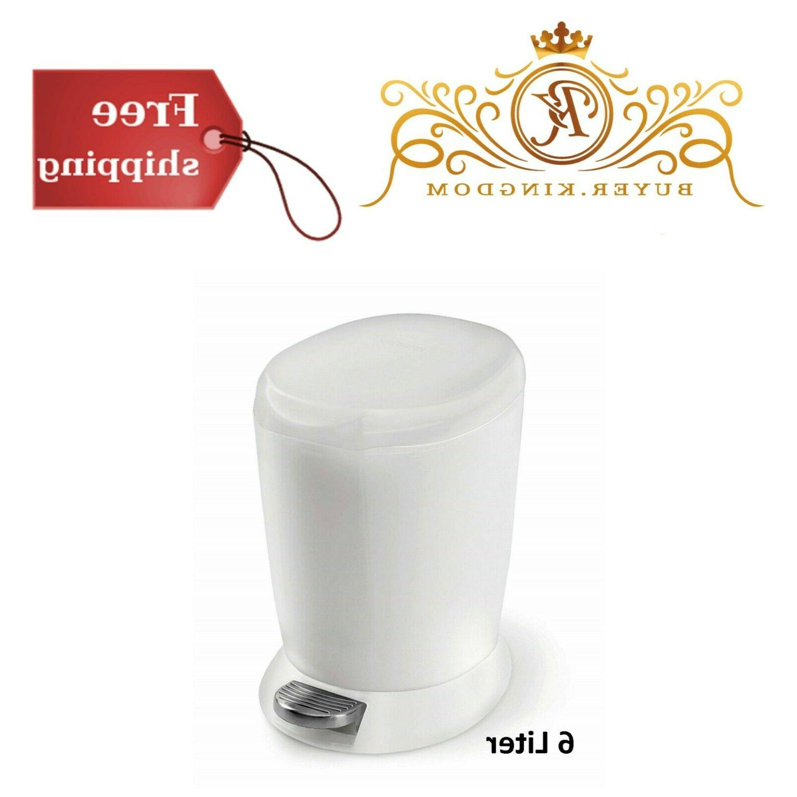 Compact Round Bathroom Step Trash Can White 6 Liter Office P