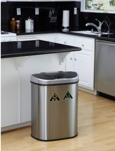 double stainless steel recycling trash bin garbage