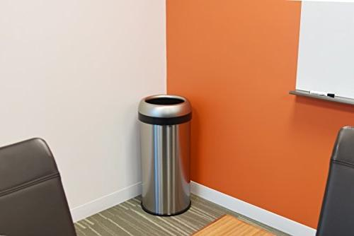 iTouchless Round Open Trash Can, Steel, 60 Liter Garbage Can