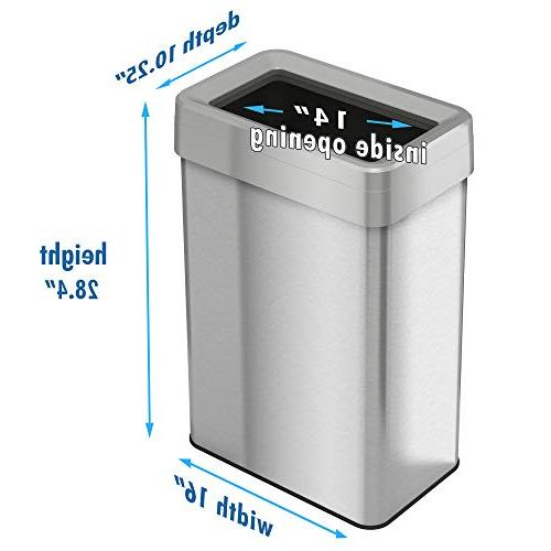 iTouchless 18 Gallon Top Rectangular Commercial 68 Can,