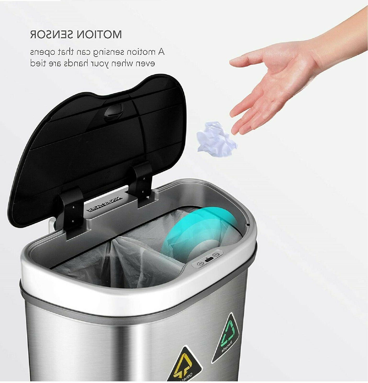 Dual Trash Can Bin for Garbage and Recycling with Motion Sensor 18 gallon