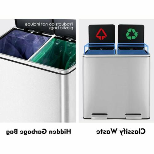 60 L Can Brushed Stainless Rectangular Garbage Bin Silent Indoor USA