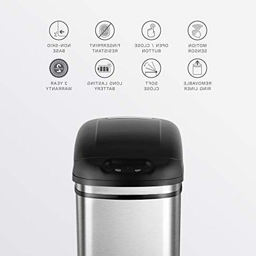 NINESTARS Touchless Infrared Motion Can, Gal Stainless Steel Base
