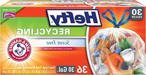 Hefty E85743 Recycling Large Trash Drawstring Bags, Clear, 3
