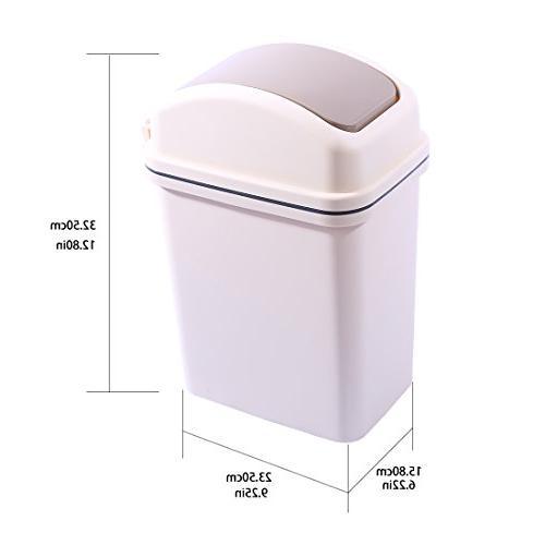 HMANE Waste Bins, 6L Plastic Can Kitchen Room Flip Top Garbage -