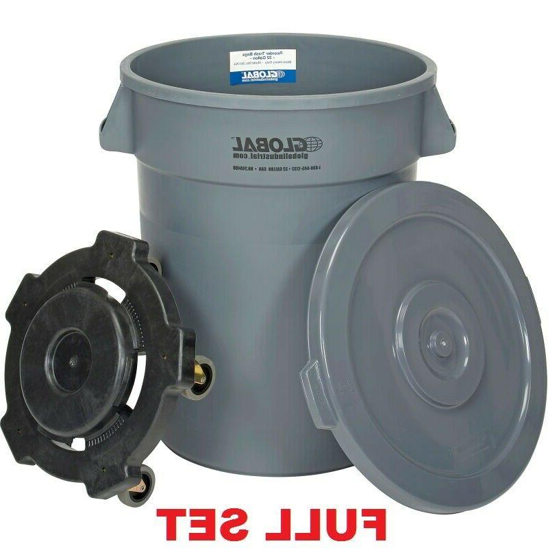 garbage can with lid and dolly 20