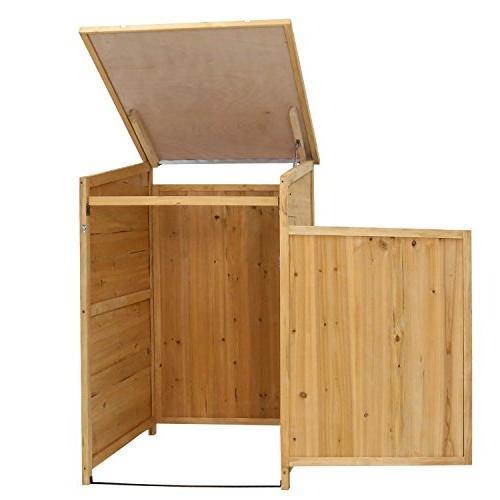 Kinbor Outdoor Garbage Storage Shed Hideway Wooden