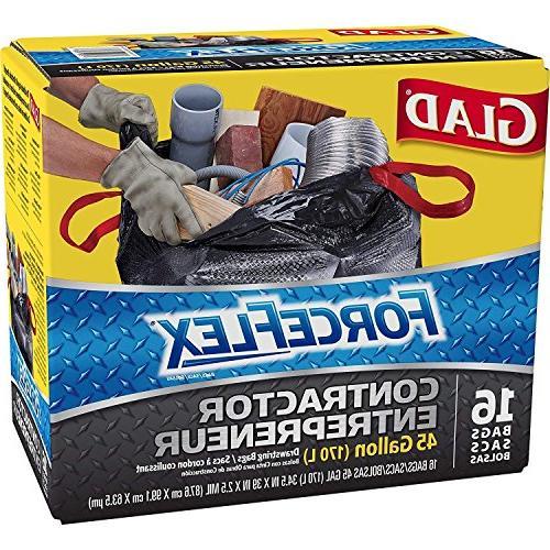 Glad Contractor Grabage Bag Forceflex 16 Bags 45