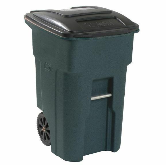 greenstone plastic wheeled trash can