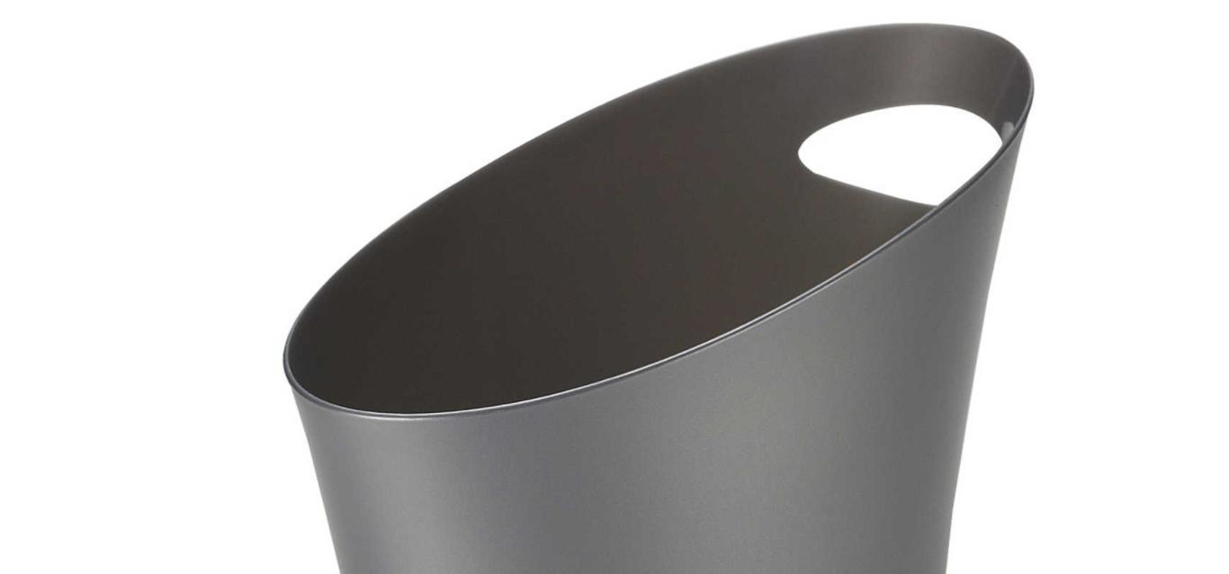 Grey 2-Gallon Wastebasket Trash Can Bath