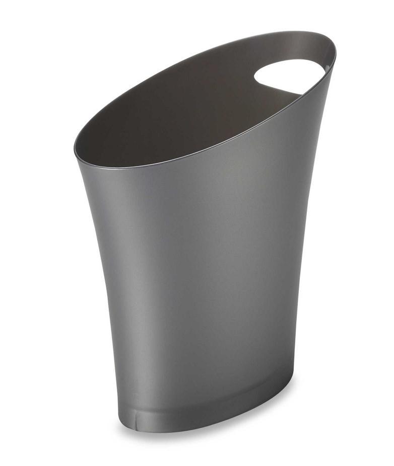 grey skinny 2 gallon wastebasket trash can