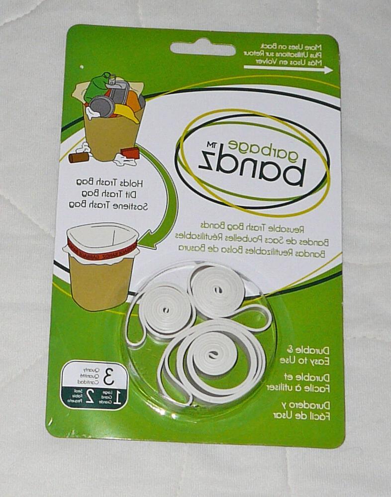 3 pc Garbage Bandz Gripper Reusable Trash Bag Can Liner Rubb