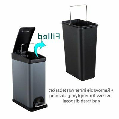 H+LUX Trash Lid, Small Rectangular Garbage Can Removable Inner