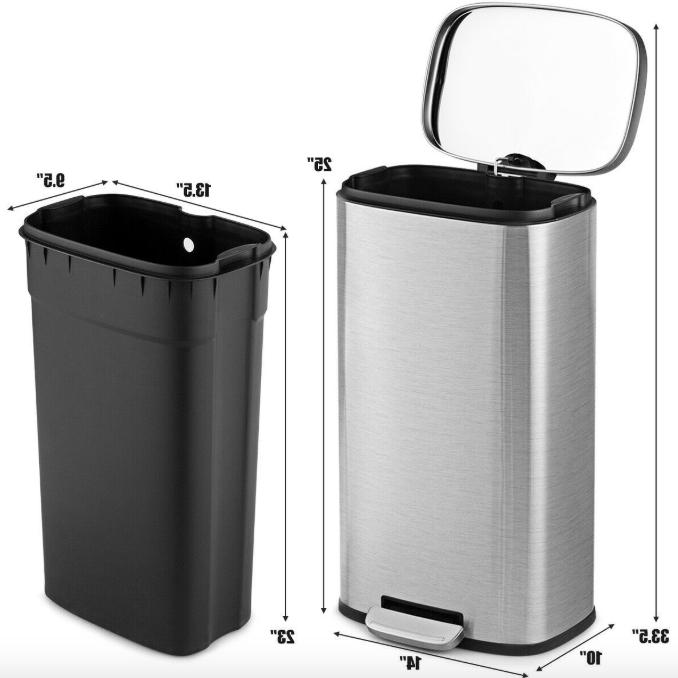Heavy Garbage Bin Bathroom Kitchen Step Pedal Lid Trash Can