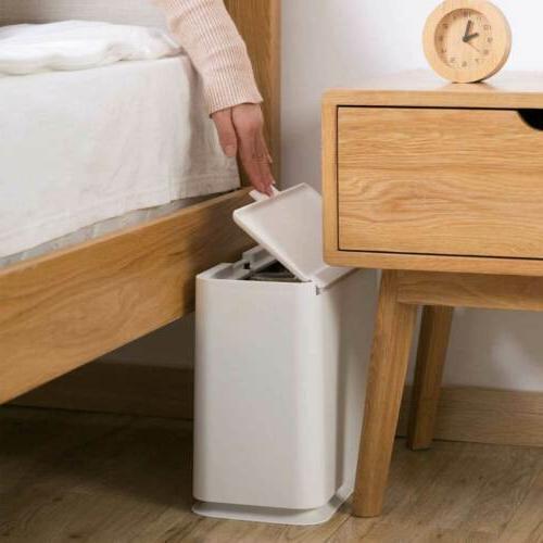 Slim Can Rubbish Wastebasket Touch Bathroom Home