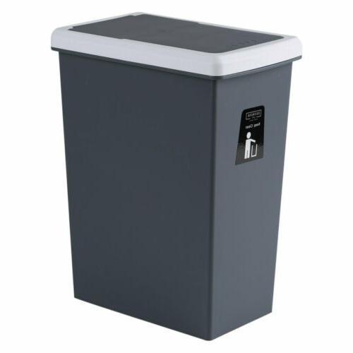 Folding Touch Lid Wastebasket Rubbish Garbage Bin Trash Can