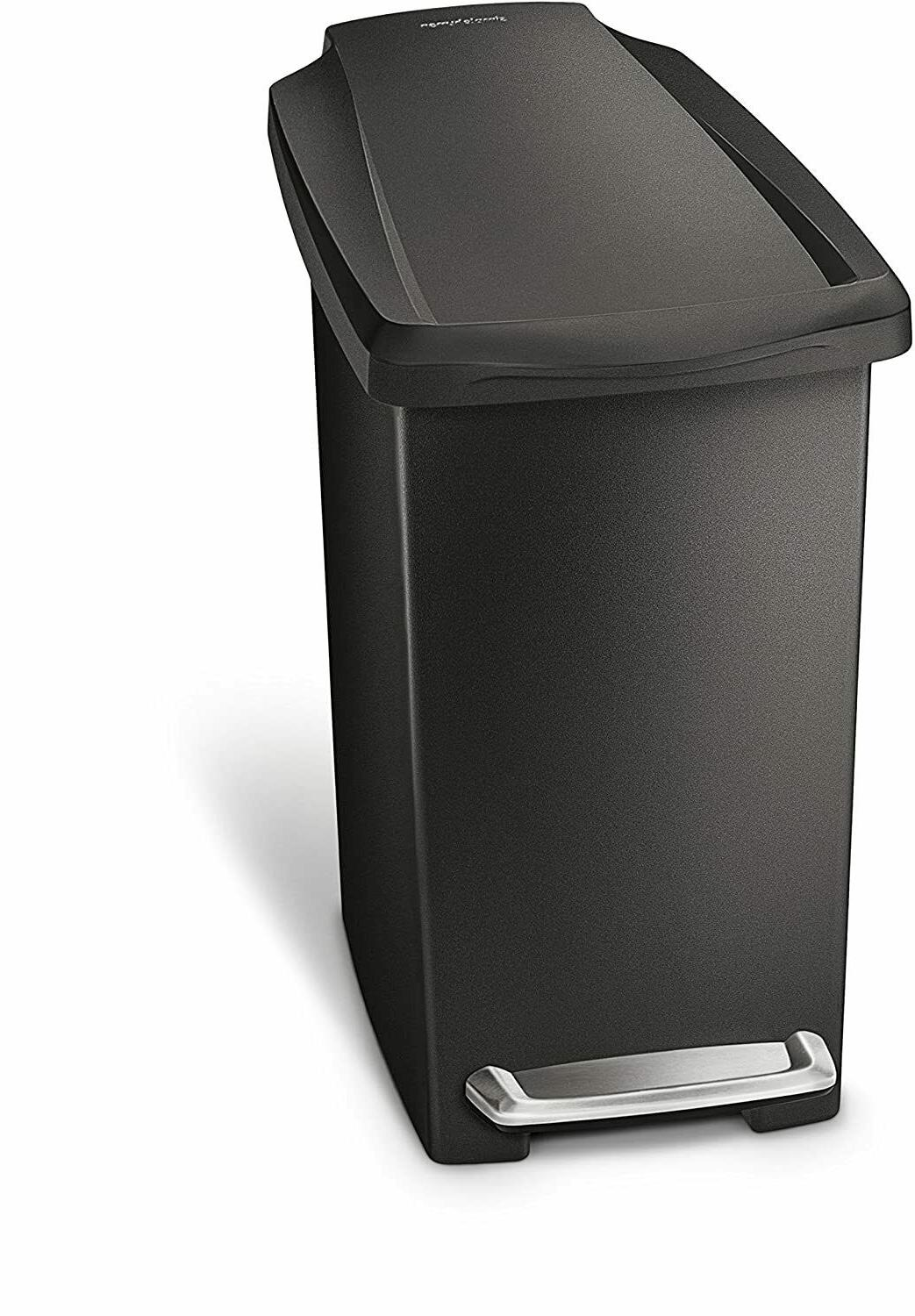 Small Bathroom Trash Can Lid Step-On Black Garbage Waste Off