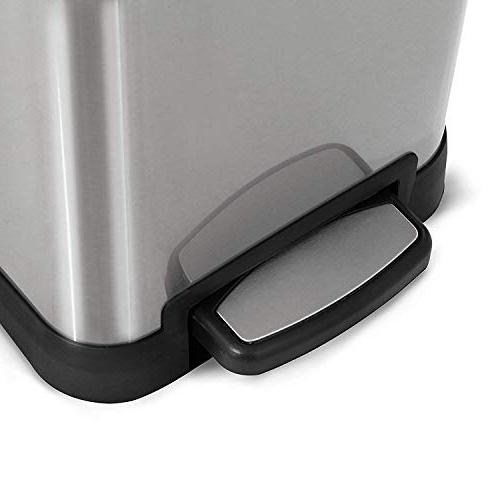 Home Stainless Kitchen Can with Dual Design and | 12 2-Removable Bin Liners,