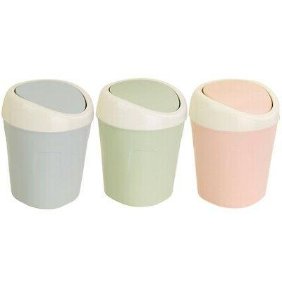 Waste Desktop Basket Table Roll Lid Mini Office