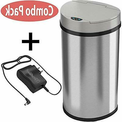 iTouchless 13 Gallon Semi-Round Extra-Wide Opening Trash Can