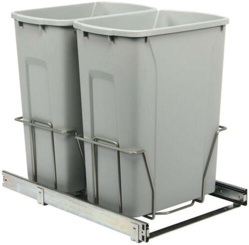 Kitchen In Cabinet Under Sink Mount Trash Can Garbage 2 Bins