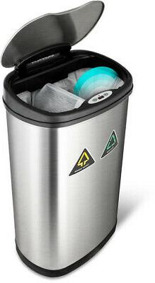 Kitchen Recycle Bin Stainless Steel Trash Can Recycling Garb
