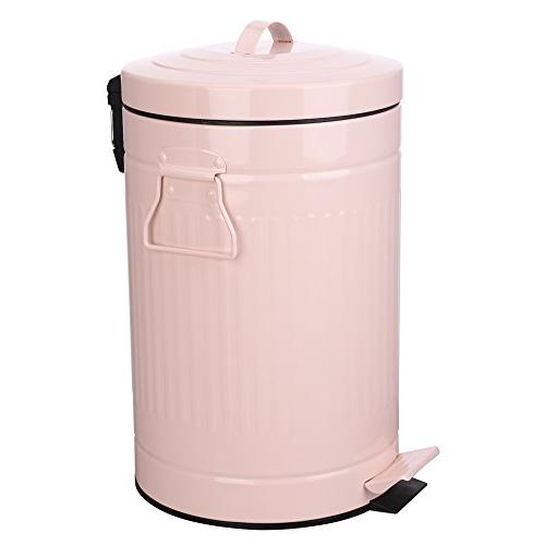 Kitchen Trash Can with Lid, Pink Bathroom Garbage