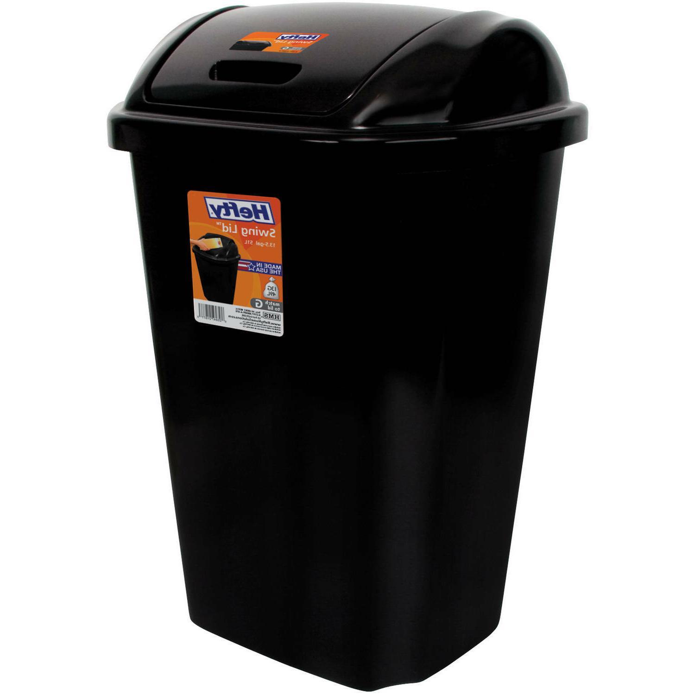 Kitchen Trash Gal Swing Lid Black Waste Bin