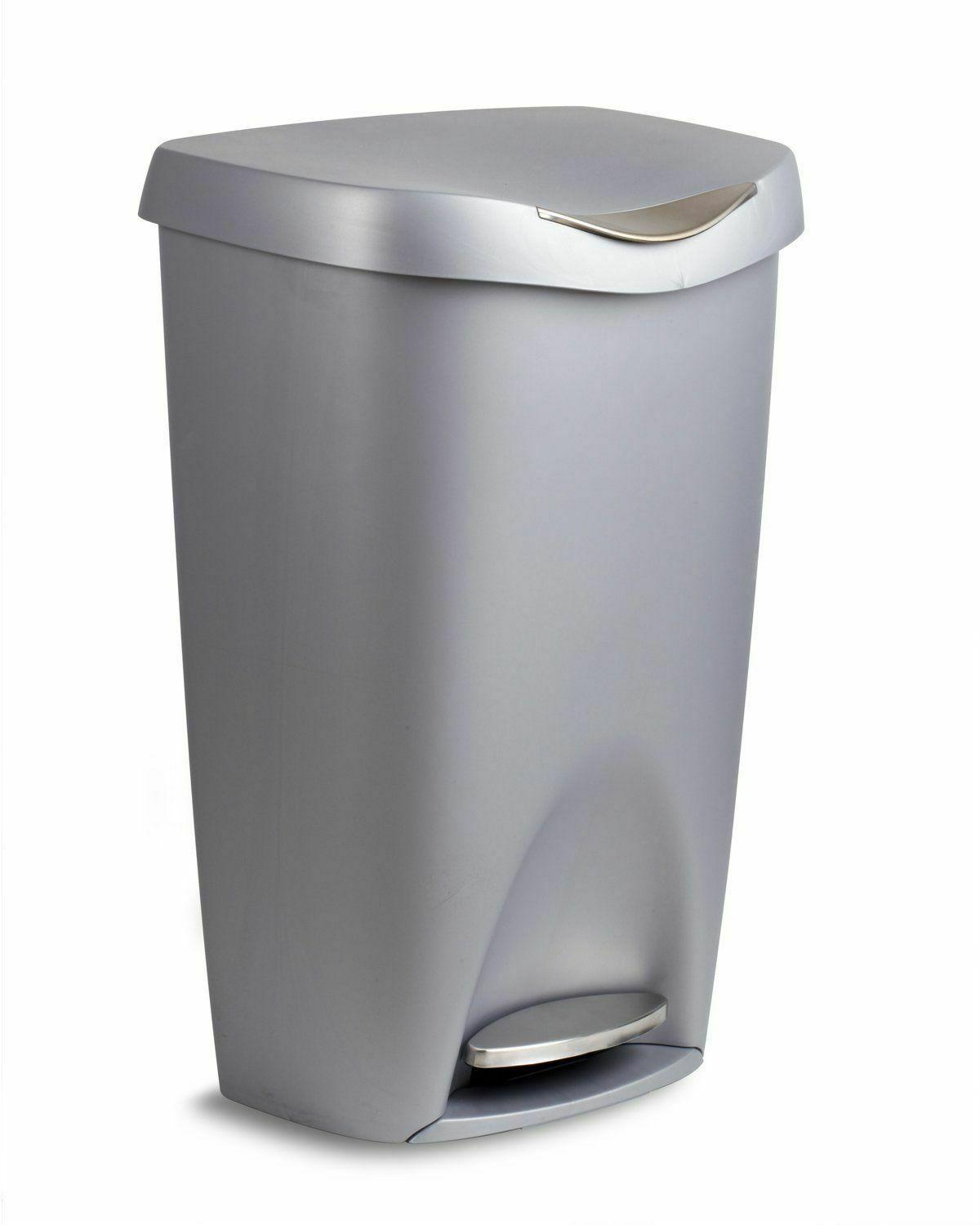 Kitchen Trash Can Garbage Large Silver Stainless Steel Foot