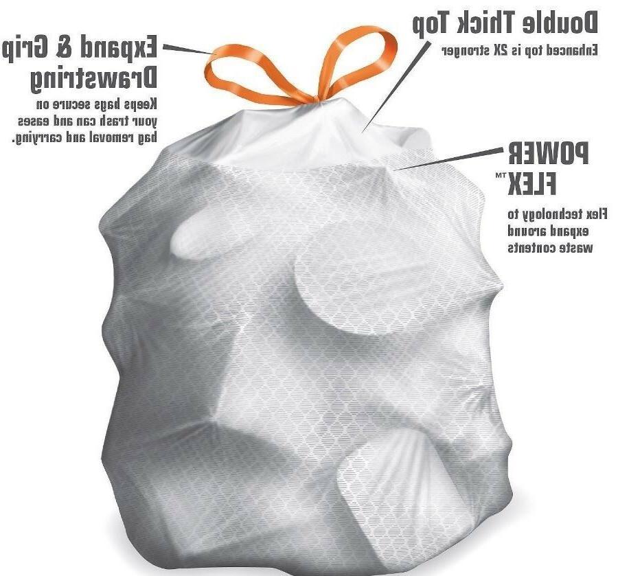 Kitchen Trash Can Tall Garbage Bags Gal Drawstring Tear Resist