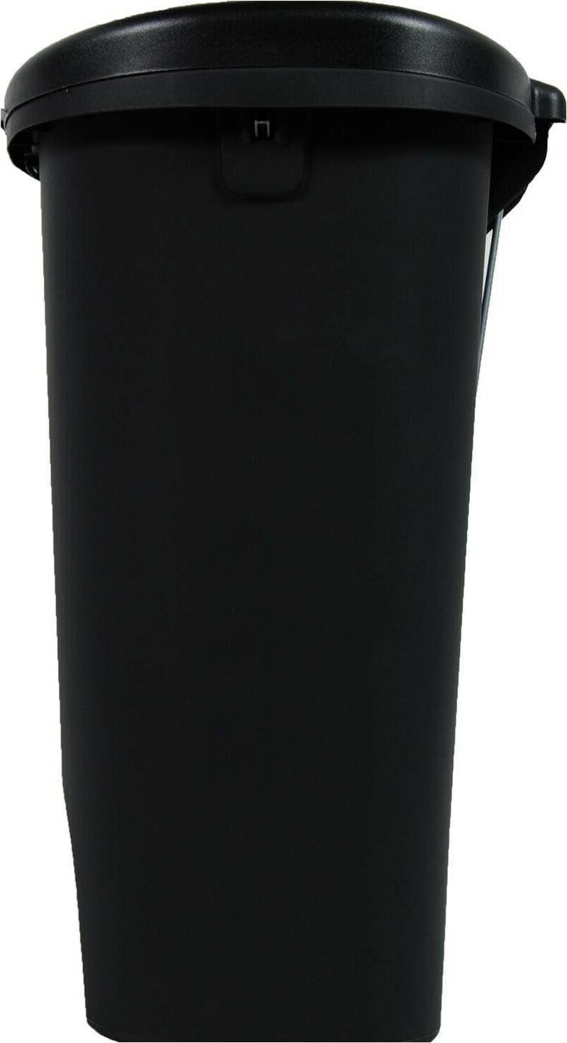 Large Kitchen Trash 13 Black Plastic With Lid Can