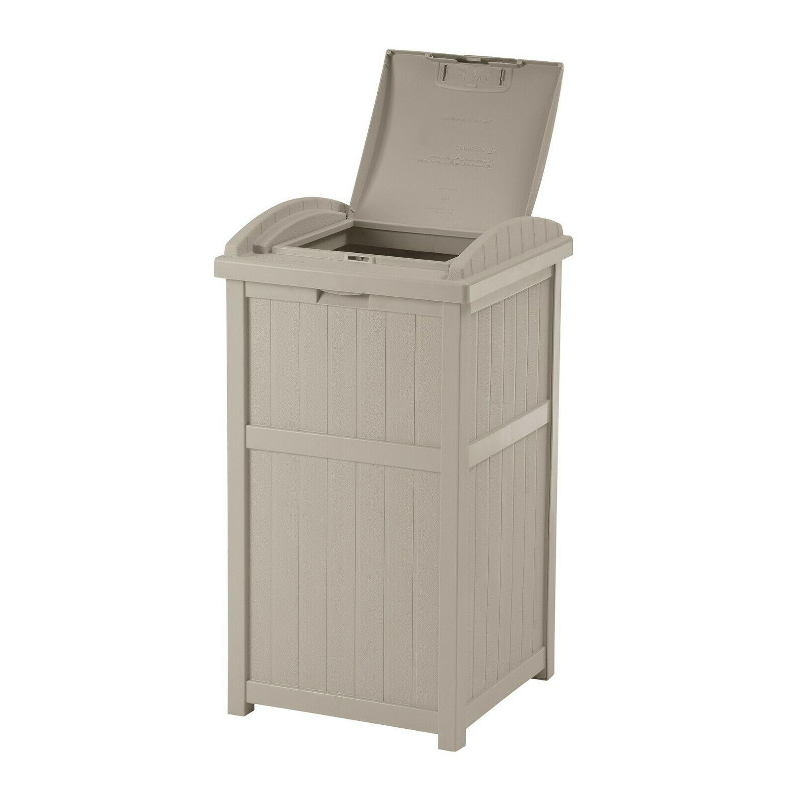 light taupe outdoor 33 gallon hideaway trash