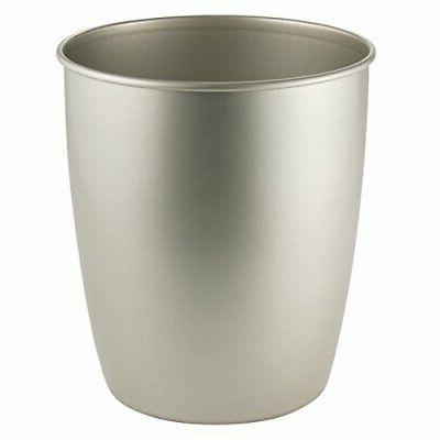 mDesign Round Metal Small Trash Can Wastebasket, Garbage Con