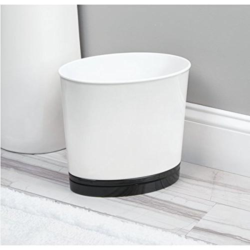 mDesign Oval Slim Decorative Plastic Small Trash Wastebasket, Garbage Bin for Kitchens, Home Offices, Rooms White/Black Finish