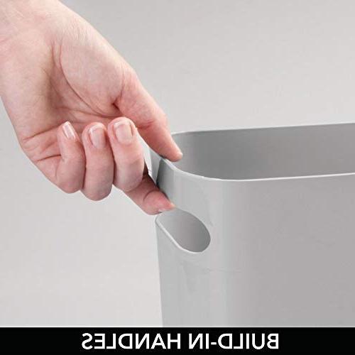 mDesign Plastic Rectangular Small Trash Can Wastebasket, Garbage Handles for Kitchen, Home Office, Dorm, Kids Room Shatter-Resistant