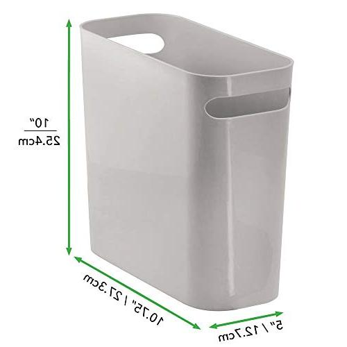 mDesign Small Trash Can Handles for Home Room - Shatter-Resistant - Gray