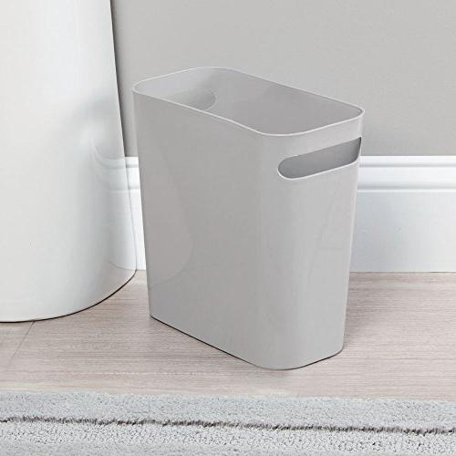 mDesign Slim Plastic Small Can Garbage Handles Kitchen, Home Office, Dorm, Room - Shatter-Resistant -