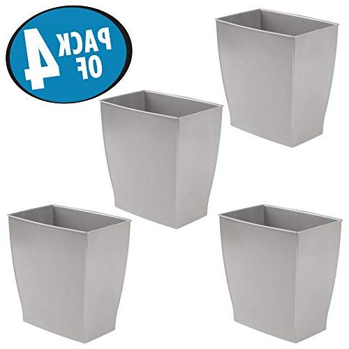 mDesign Rectangular Wastebasket, Small Garbage Container Bin for Powder Rooms, Home and of Shatter-Resistant Gray