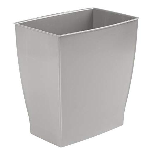 mDesign Rectangular Wastebasket, Garbage Bin for Rooms, Kitchens, Offices of Plastic, Gray